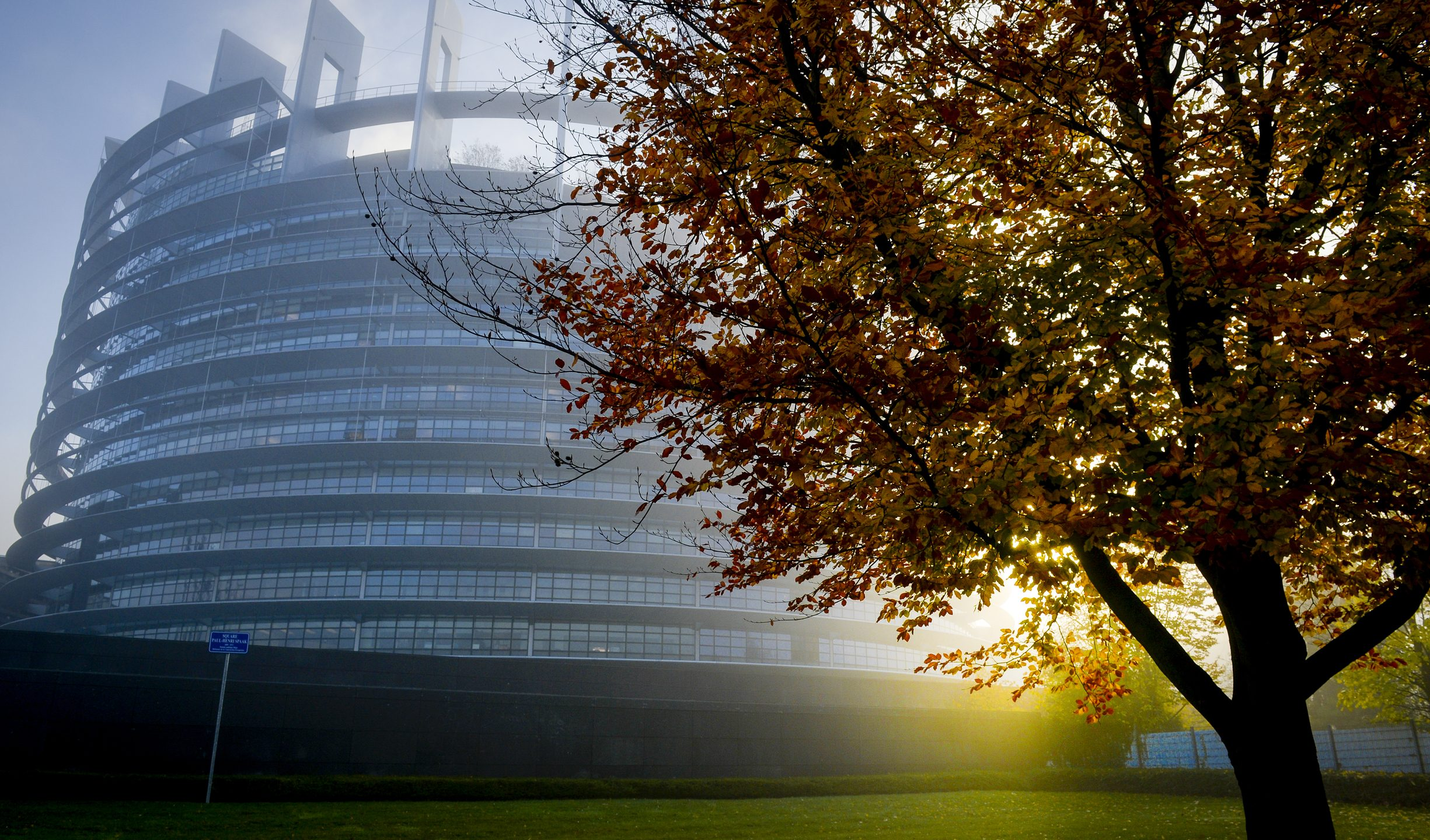 European Parliament building in the fog in Strasbourg