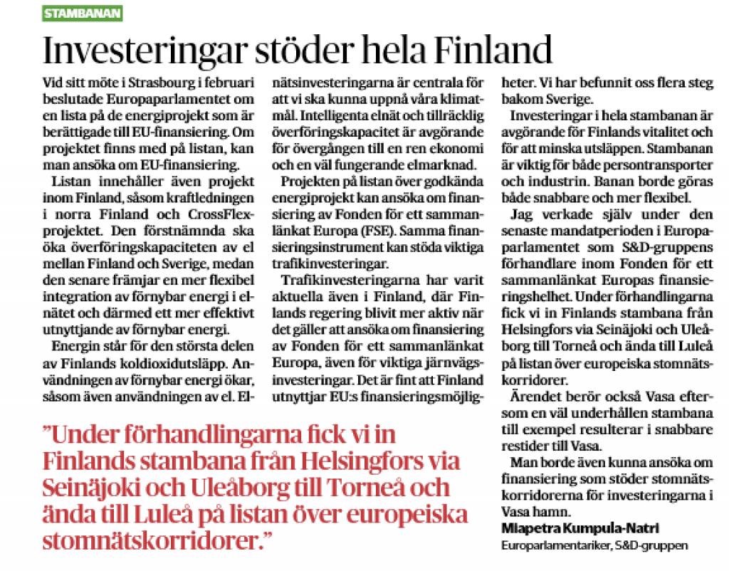 Kirjoitus julkaistiin Vasabladetissa 4.3.2020